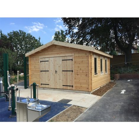 Premier 4m x 5m Garage Log Cabin - Double Glazing (44mm Wall Thickness)