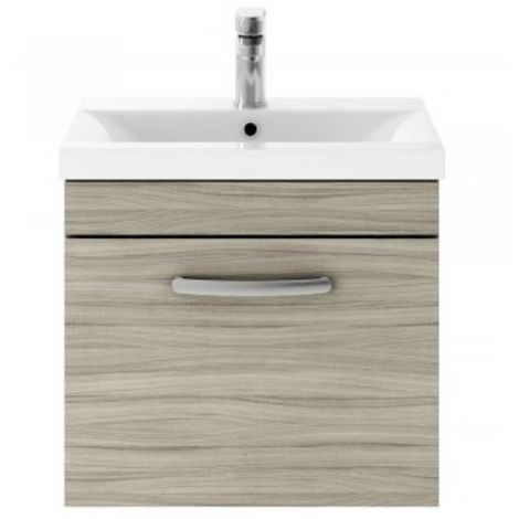 Premier 610mm Wall Hung Vanity Unit In Driftwood & Basin