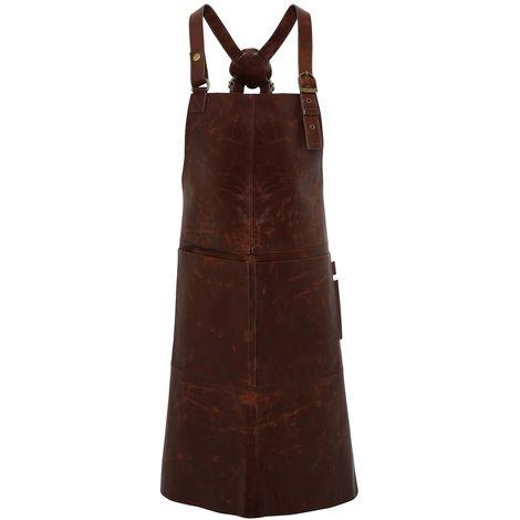 Premier Artisan Leather Cross Back Bib Apron (One Size) (Brown)