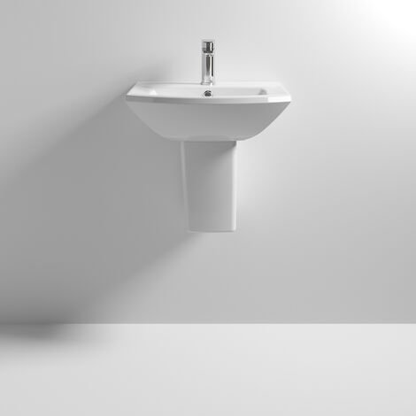 Premier Asselby Basin and Semi Pedestal 500mm Wide 1 Tap Hole