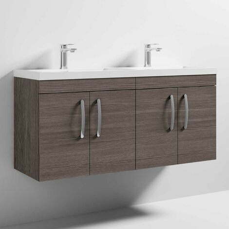 Nuie Athena Wall Hung 4-Door Vanity Unit with Double Basin 1200mm Wide - Brown Grey Avola