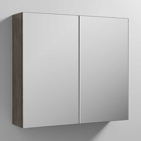 Premier Athena Mirrored Cabinet (50/50) 800mm Wide - Brown Grey Avola