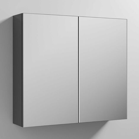 Premier Athena Mirrored Cabinet (50/50) 800mm Wide - Gloss Grey
