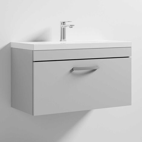Premier Athena Wall Hung 1-Drawer Vanity Unit with Basin-1 800mm Wide - Gloss Grey Mist