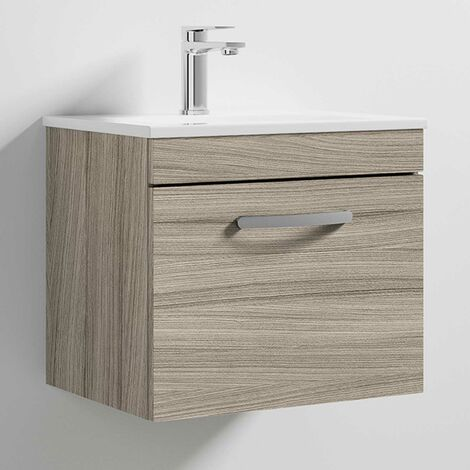 Premier Athena Wall Hung 1-Drawer Vanity Unit with Basin 2 Driftwood - 500mm Wide