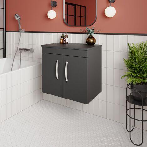 Premier Athena Wall Hung 2-Door Vanity Unit and Worktop 600mm Wide - Gloss Grey