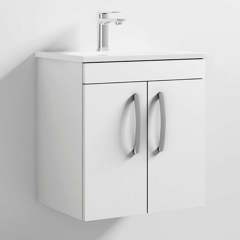 Premier Athena Wall Hung 2-Door Vanity Unit Basin-2 500mm Wide - Gloss White