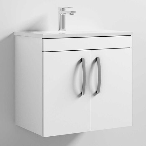 Premier Athena Wall Hung 2-Door Vanity Unit Basin-2 600mm Wide - Gloss White