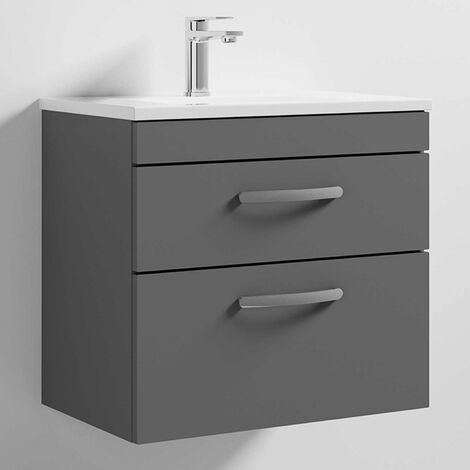 Premier Athena Wall Hung 2-Drawer Vanity Unit Basin-2 600mm Wide - Gloss Grey