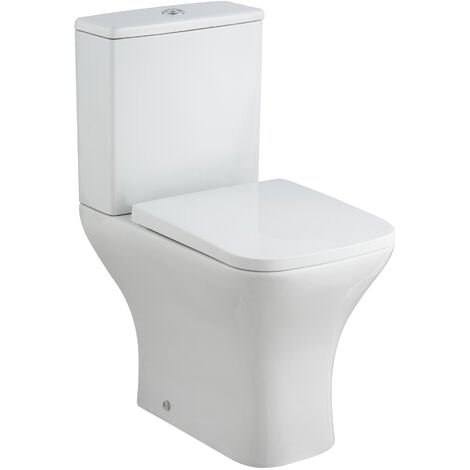 Premier Ava Close Coupled Rimless Toilet WC Push Button Cistern - Soft Close Seat