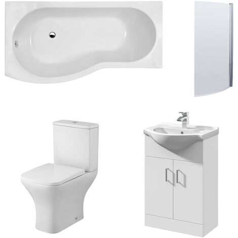 Premier Ava Complete Furniture Suite with Vanity Unit and B-Shaped Shower Bath 1700mm LH