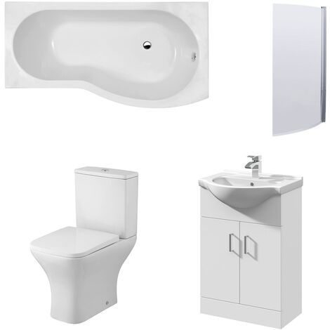 Premier Ava Complete Furniture Suite with Vanity Unit and B-Shaped Shower Bath 1700mm RH