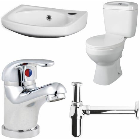 Premier Bathroom Suite Close Coupled Toilet and Basin 350mm 1 Tap Hole