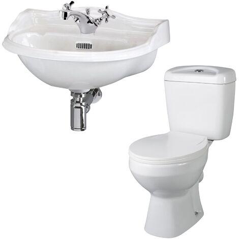 Premier Bathroom Suite Close Coupled Toilet and Basin 500mm 1 Tap Hole