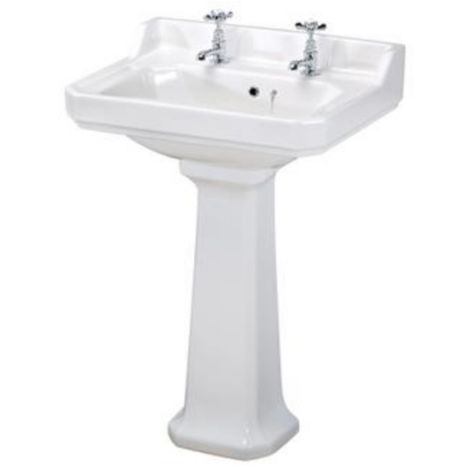 Premier Carlton 595mm 2 Tap Hole Basin And Full Pedestal