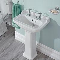 Premier Carlton Traditional Bathroom Pedestal Basin, White, Ceramic