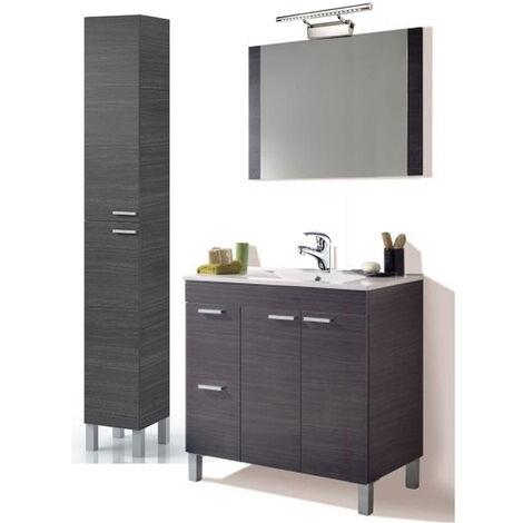PREMIER Conjunto Baño completo 1p abat.+ 1cajon + espejo + Columna, Lámpara y Grifería Incluida