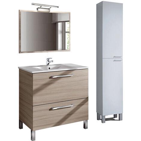 PREMIER Conjunto Baño completo con Espejo + Columna, Lámpara y Grifería Incluida