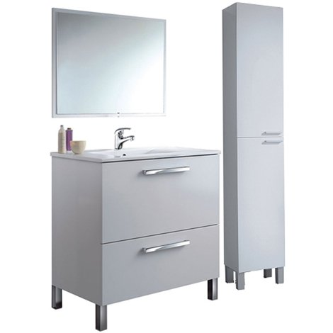 PREMIER Conjunto Baño Completo, Mueble + Columna + Espejo y con Grifería Incluida (latiguillos incluidos)