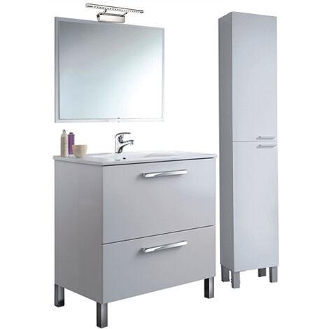 PREMIER Conjunto Baño completo puerta y cajón con espejo + COLUMNA con Lámpara y Grifería Incluida