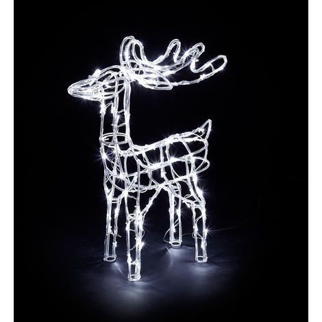 Premier Decorations - 70cm Mains Operated Indoor & Outdoor Acrylic Reindeer Christmas Figure - 90 Cool