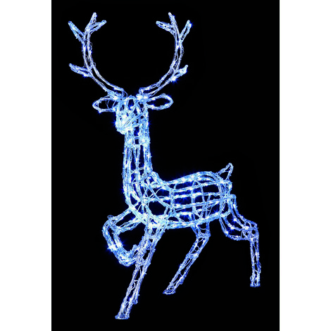 Premier Decorations - Mains Operated Indoor & Outdoor Acrylic Prancing Reindeer Christmas Figure