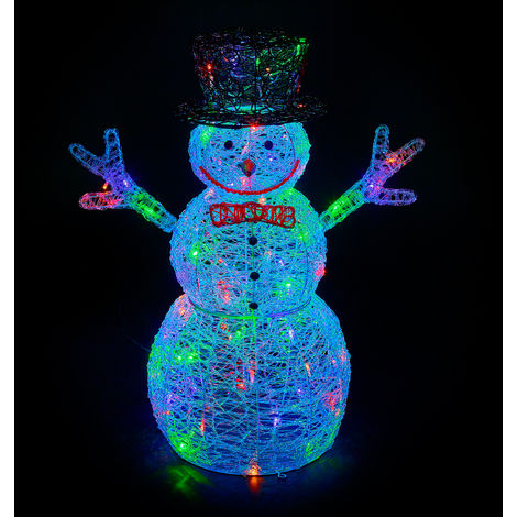 Premier Decorations - 76cm Mains Operated Indoor & Outdoor Acrylic Snowman Christmas Figure - 88 Multi