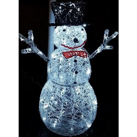 Christmas Snowmen Decorations.Premier Decorations Mains Operated Indoor Outdoor Acrylic Snowman Christmas Figure