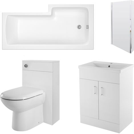 Premier Eden Complete Furniture Bathroom Suite with L-Shaped Shower Bath 1700mm - Left Handed