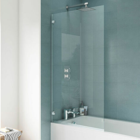 Premier Ella Square Hinged Bath Screen 1410mm High x 782mm Wide - 5mm Glass