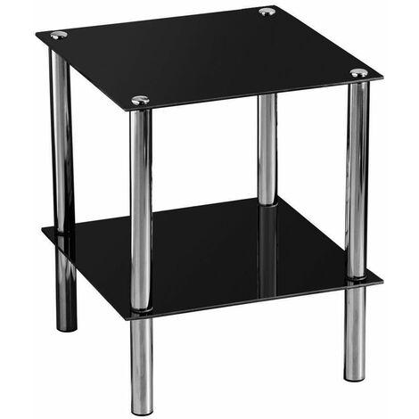 Premier Housewares 2 Tier Black Glass End Table