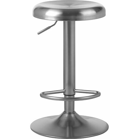 """main image of """"Premier Housewares Adjustable Stool Stainless Steel Seat Breakfast Stools Outdoor Bar Stool Rounded Stools for Breakfast Bar w38 x d38 x h82cm"""""""