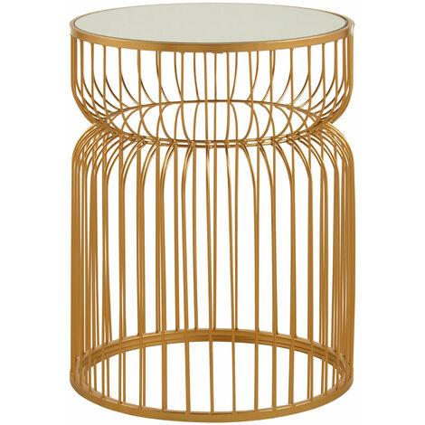 Premier Housewares Avantis Gold Metal Wireframe Round Side Table