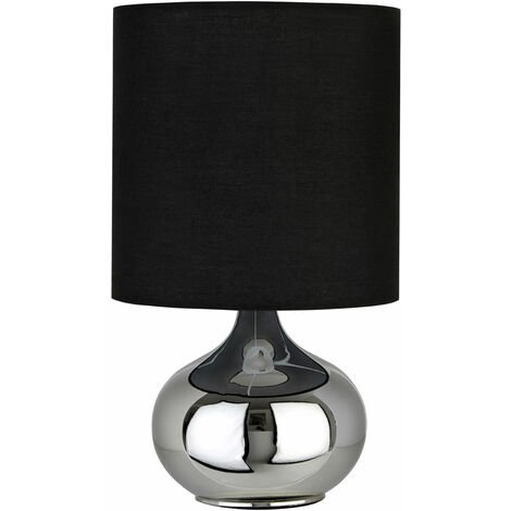 """main image of """"Premier Housewares Black Fabric Shade Table Lamp/ Black Shade/ Chrome Spherical Base Stand/ Desk / Reading / Office Lamps With Modern Look 20 x 35 x 20"""""""