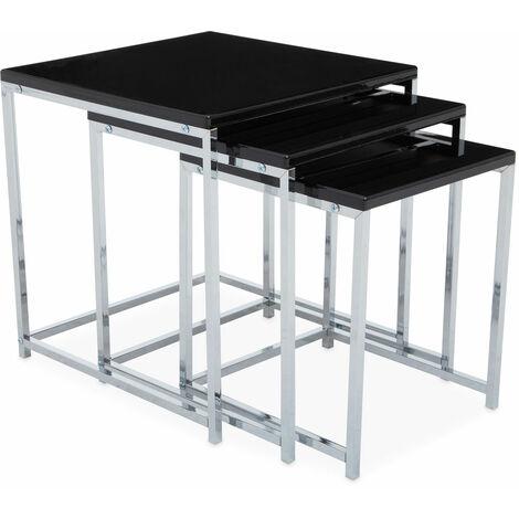 Premier Housewares Black Nest of 3 Tables with Chrome Frame