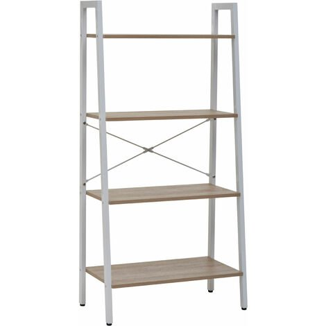 "main image of ""Premier Housewares Bradbury Four Tier Natural Oak Veneer Ladder Shelf Unit"""