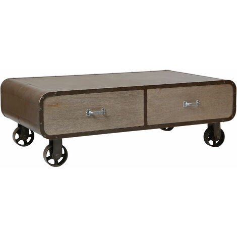 """main image of """"Premier Housewares Coffee Table For Living Room / Garden Low Outdoor Coffee Tables With Wheels MDF Wooden Finish Rivet Square Furniture With Storage Drawers 40 x 120 x 70"""""""