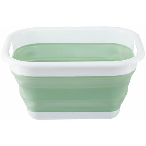 """main image of """"Premier Housewares Collapsible Green White Laundry Basket Multipurpose And Portable Made from Sturdy PP And Eco-friendly Rubber 34 x 24 x 44"""""""