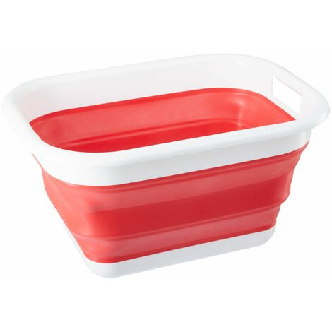 """main image of """"Premier Housewares Collapsible Red White Laundry Basket Multipurpose And Portable Made from Sturdy PP And Eco-friendly Rubber 34 x 24 x 44"""""""
