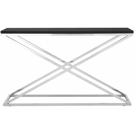 """main image of """"Premier Housewares Console Table Metal Black Table Coffee Table Black Leather Console Table Narrow Criss Cross Legs Console Tables Metal Table"""""""