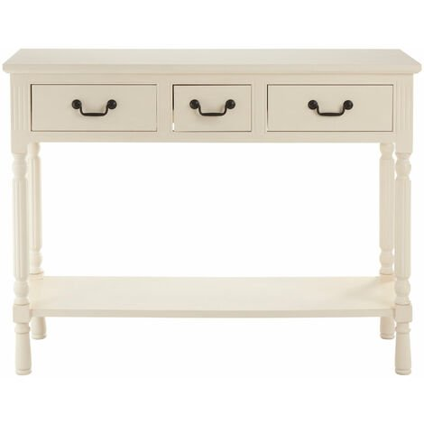 """main image of """"Premier Housewares Console Table White Table Wooden Hallway Slim Living Room Three Desk Drawers Metal Handles w81 x d36 x h106cm"""""""