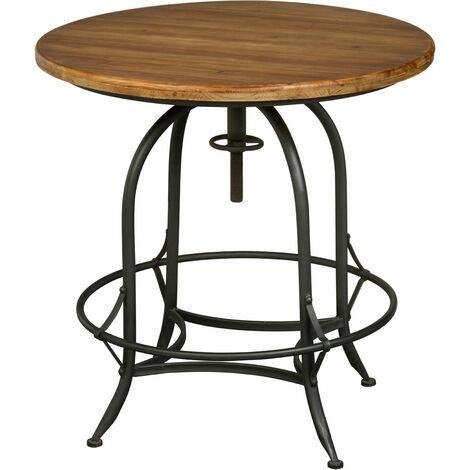 "main image of ""Premier Housewares Garden Table Round Garden Tables Only Bistro Table Round Patio Table Fir Wood, Metal, Natural - W80 X D80 X H82cm"""