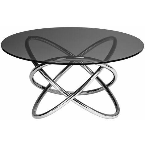 """main image of """"Premier Housewares Glass And Chrome Coffee Table Round Glass Coffee Table Silver Coffee Table Unique Coffee Table Stainless Steel Frame Grey 80x41x80"""""""