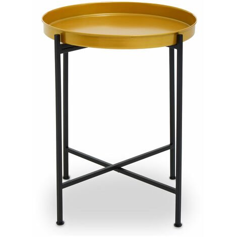 Premier Housewares Hege Small Brass and Black Finish Side Table