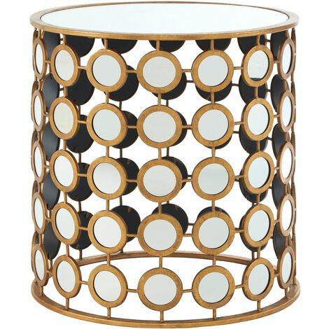 """main image of """"Premier Housewares Living Room Side Table Metal Bedside Table Gold Finish Round Side Table Mirror Small Coffee Table Metal Mini Table w51 x d51 x h54"""""""