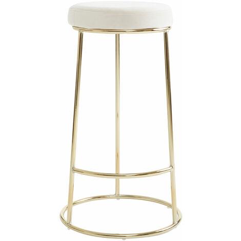 """main image of """"Premier Housewares Manhattan Cream Velvet Tall Bar Stool"""""""