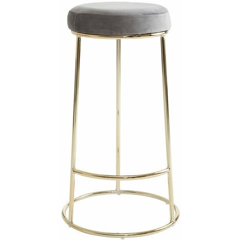 "main image of ""Premier Housewares Manhattan Grey Velvet Tall Bar Stool"""