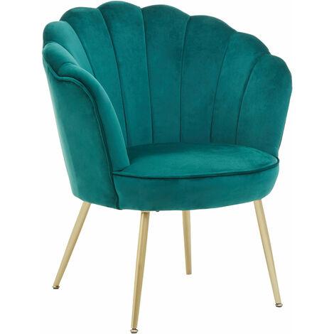 """main image of """"Premier Housewares Ovala Emerald Green Velvet Scalloped Chair"""""""