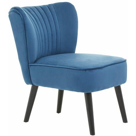 Premier Housewares Regents Park Blue Velvet Chair