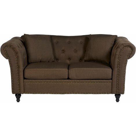 """main image of """"Premier Housewares Small Couch 2 Seater Sofas for Living Room Chesterfield Styled Two Seater Sofa Finishing Natural Fabric Sofa 2 Seater Stud Detail on the Two Seater"""""""